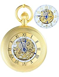 Ogle impermeable oro grande romano blanco colgante collar cadena Fob Self bobinado automático bolsita para trinchar esqueleto mecánico reloj de bolsillo