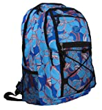 Womens Girls Floral School College Work Travel Gym Hiking Backpack Rucksack Bag (Black/Blue/Pink/Purple) (Blue)