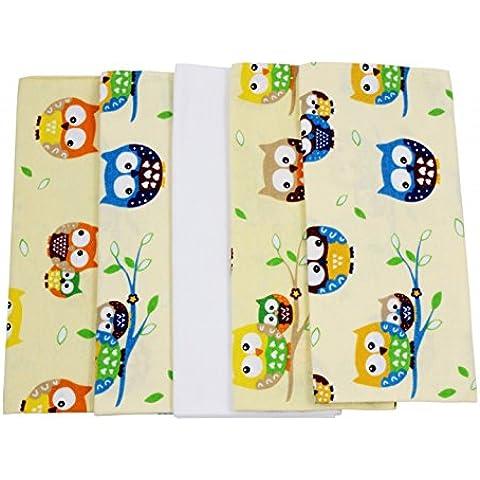 ByBoom® - Telo di flanella - Lenzuolino per il reflussso - multicolore, soffice - morbido, 70x80cm, confezione da 5 pezzi, cotone al 100%; MADE IN EU - Giallo Flanella