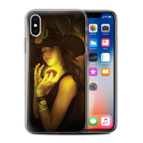 Officiel Elena Dudina Coque / Etui Gel TPU pour Apple iPhone X/10 / Somnambule/Insomnie Design / Magie Noire Collection Orbe/Sorcellerie