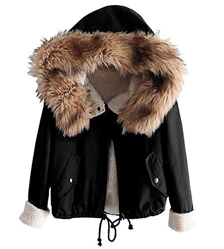 Minetom Damen Warm Verdicken Winterjacke Mantel Mit Plüsch Kapuze Winddicht Tasche Tunnelzug Kurze Parka Gezeichnet Jacke Outerwear Schwarz DE 38