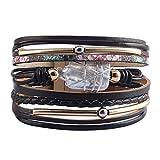 JOYMIAO Femmes Bracelet en Cuir Baroque Perle Bracelet Casual Tressé Wrap Manchette...