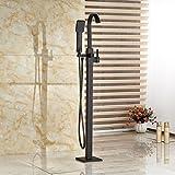 Gowe Öl eingerieben Bronze Wasserfall Badewanne Mixer Wasserhahn freistehend Bodenmontage Badewanne Wasserhahn mit Handbrause