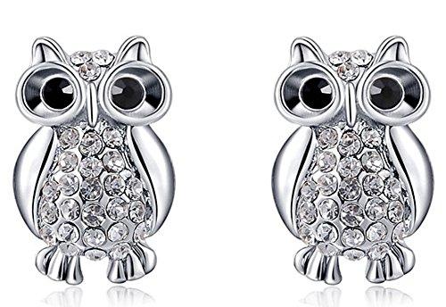 SaySure - Jewelry Platinum Owl luxury Austrian crystal champaign earrrings
