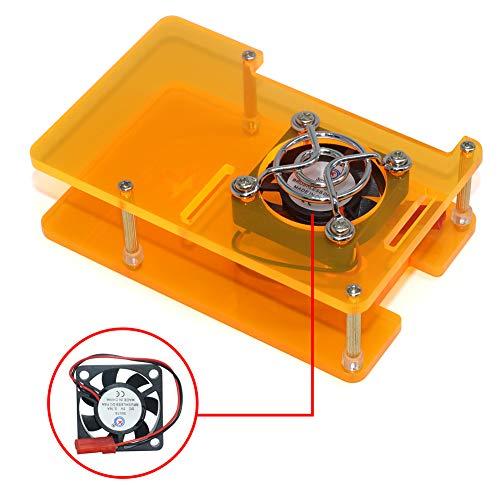 VICKSONGS Acryl Case für Raspberry Pi 4 Gehäuse Mehrfarbig, Raspberry Pi 3B/3B+/4B Model B Starter Kit Case mit Lüfter Fan [5V/0,16A] Gute Wärmeableitung Durchsichtig Pi 4 Gehäuse (Orange) Orange Case Fan