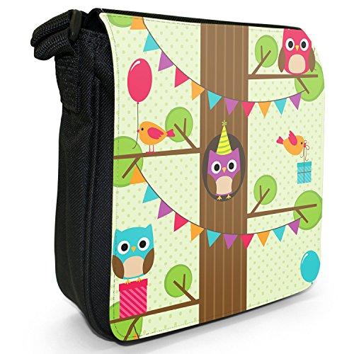 Gufi, alta In The Tree Top-Borsa a tracolla In tela, piccola, colore: nero, taglia: S Nero (Party Owls Balloons & Gifts)