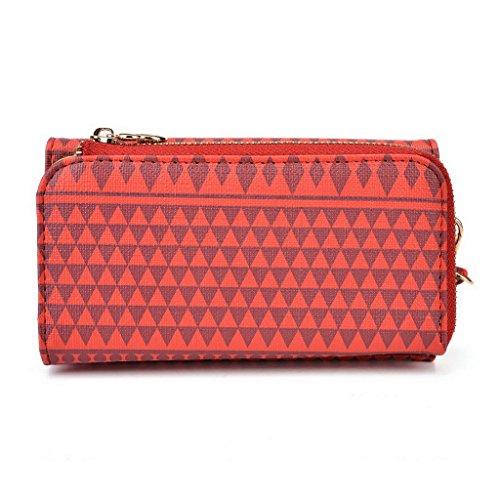 Kroo Pochette/étui style tribal urbain compatible avec MOTOROLA MOTO G/E Brun rouge