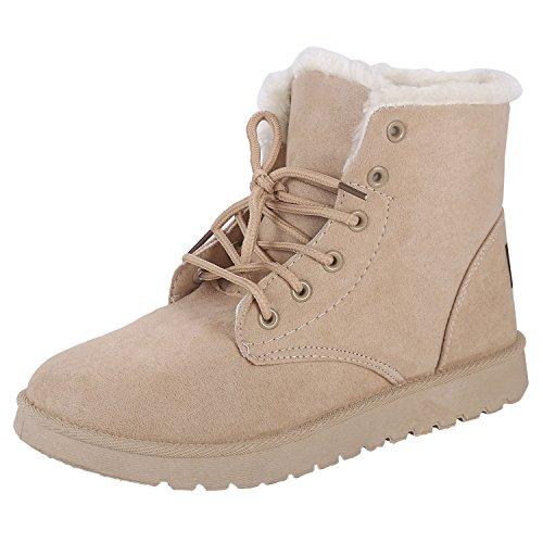Chaussures D'hiver, Femmes Bottes Avec Geftterte Chaud Schnrstiefeletten Plates Bottes De Neige En Plein Air Stiefeletten Bottes 40 Eu Beige