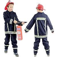 Foxxeo 40026   Feuerwehr Mann Kostüm für Kinder   Polizei Kostüm für Kinder   Größen 92 – 152