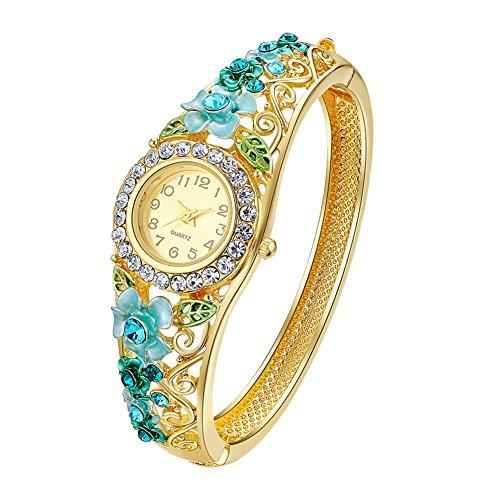 Oven Moda Frauen Gold plattiert blau Schmuck Armreif Armband Quarz Analog Armreif Armbanduhr für Mutter,Freundin,Freundschaft Perimeter:20,5cm