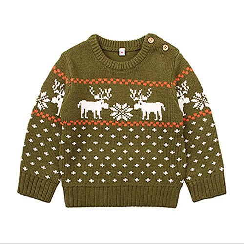 QIQI Children es Knit Sweater, Knit Jacket Cotton Boy Christmas Giraffe Sweater Autumn Winter Kids,Green,90cm (Herren Jacket Suit Green)