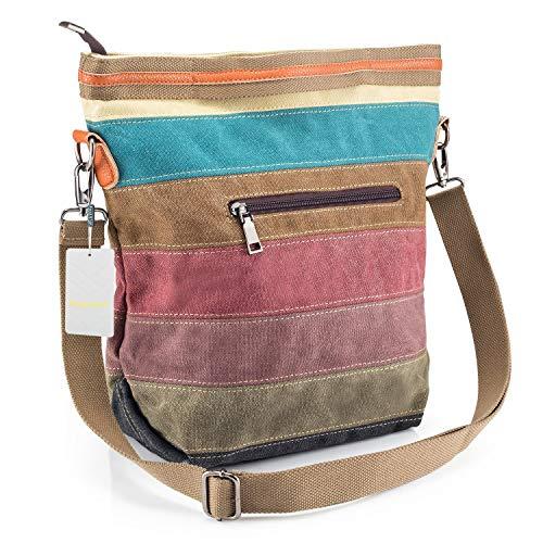SNUG STAR-Mehrfarbengestreifte Segeltuch-Handtaschen-Kreuzkörper sollte Geldbeutel-Tasche Tote-Handtasche für Frauen (Zippered Tote Handtasche Bag)