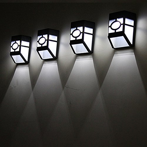 Solar LED Licht Hirolan Sicherheit Beleuchtung Draussen Garten Mauer Pfad Garten Landschaft Licht Track Lighting, LED Light Bulbs (Kaltes Weiß) (Weiße Track-licht)