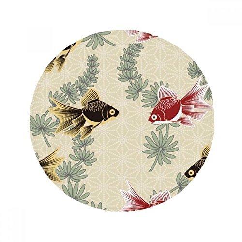 DIYthinker Goldfish Wasser Unkraut Japan Anti-Rutsch Boden Pet Matte rund Badezimmer Wohnzimmer Küche Tür 80cm Geschenk -
