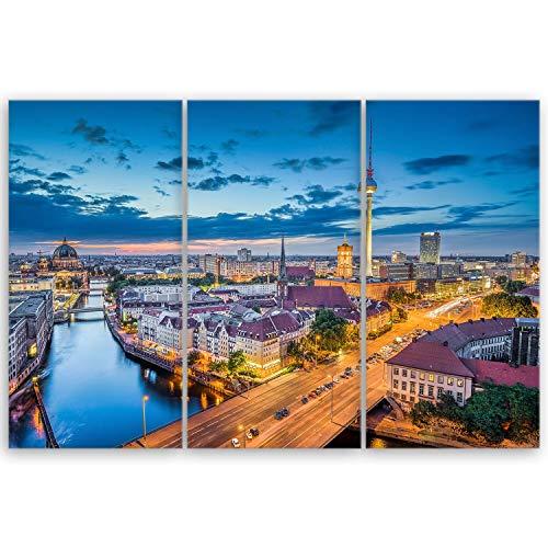ge Bildet® hochwertiges Leinwandbild XXL - Berlin Skyline - Deutschland - 120 x 80 cm mehrteilig (3 teilig) 2211 A