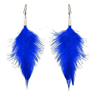 Boucles d'oreilles longues légères simples plumes couleur au choix bleu, rose fuchsia, violet, marron, noir OU rouge