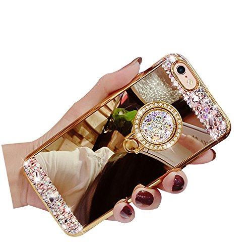 Sunroyal Spiegel Finger Hülle für iPhone 6S/6 Silikon Case Handy Cover, Schutzhülle Bling Diamant Crystal Kirstall Case Durchsichtig, Weichem Silikon Schutzhülle Handy Gürtel Tasche Schutzhülle Hülle  Pattern 04