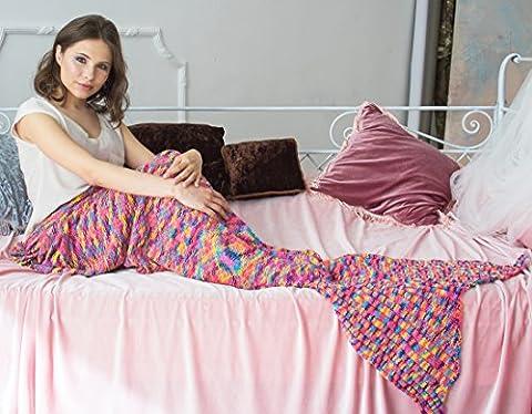 Mermaid Tail Blanket Rainbow Stripes, Doux Sofa Jetés Blanket pour les adultes et les enfants (Rainbow 74.8x35.4inches)