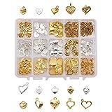 PandaHall Elite Circa 150 Pezzi 15 Stili ciondoli Charms di Cuore di Stile Tibetano di Lega per Braccialetti collane Orecchini bigiotteria Fai da Te, Argento e Oro