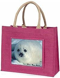 White Sea Lion 'Love You Mum' Large Pink Shopping Bag Christmas Present Idea