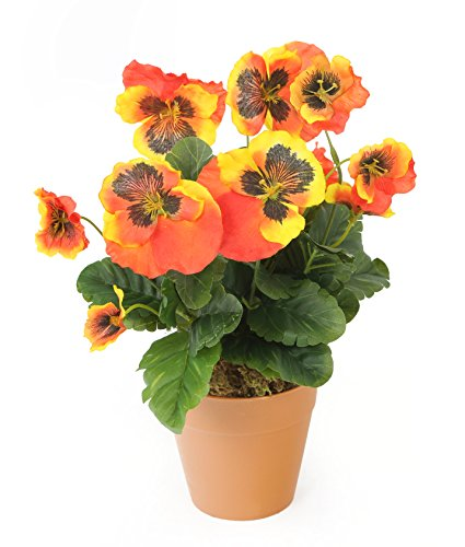 closer-to-nature-artificial-27cm-orange-pansy-plug-plant-pot-not-included