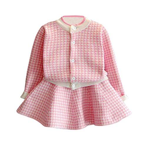 OverDose 2pcs Kleinkind Kinder Baby Mädchen Weihnachten Party Kleidung Set Outfit Plaid Kariertes gestrickten Langarm Pullover Mantel Tops + Rock Set(3-4T/100CM,A-Rosa)