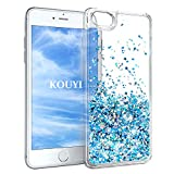 KOUYI iPhone 6S/6 Hülle Glitzer, Luxus Fließen Flüssig Glitzer 3D Bling Dynamisch Silikon Weich Flexible TPU Kreativ Shiny Glitter Cover Beschützer für Apple iPhone 6S / iPhone 6 (Silber Blau)