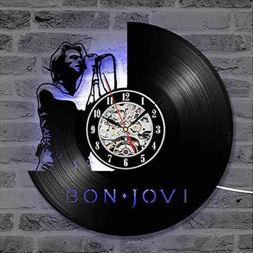 Mddjj Bon Jovi Ce Rekorduhr Vinyl Uhr Antike Handgemachte Led Hängende Uhr Klassische Wohnkultur Großes Geschenk Für Musik Fans Wohnzimmer Dekoration (Led-licht-uhr-fan)