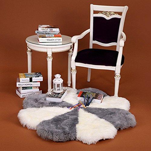 Duang tappeto di pelle di pecora super morbido fiore rotondo lana spessa cuciture grigio + bianco,120×120cm,47.2