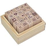 SUMERSHA 1 Kiste 25 pcs rot Love Gummi Holz Stempel für DIY Tagebuch Dekoration