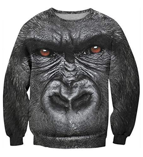Leon's shop 3D Sweatshirt,Digital-Druck-Paar-Baseball-Anzug-Gorilla, XL