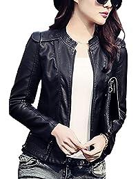 Chaqueta De Cuero Corta De PU Imitación De Cuero Para Mujer Jacket