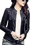 Chaqueta De Cuero Corta De PU Imitación De Cuero Para Mujer Jacket Negro M