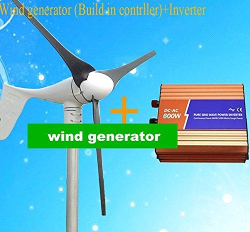 Gowe Low Noise 600W Wind Turbine Generator + Pflanzenbeleuchtung Off Grid reine Sinuswelle Wechselrichter Off-grid-generator