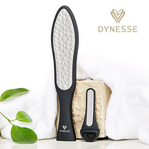Premium Laser-Hornhautraspel inkl Mini-Hornhautfeile von DYNESSE. Hornhautentferner mit ergonomischem rutschfestem Griff. Edelstahl Fußfeile, Fußraspel für Pediküre und Fußpflege. Hornhauthobel
