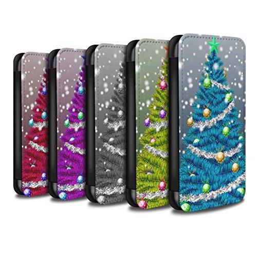 Stuff4 Coque/Etui/Housse Cuir PU Case/Cover pour Apple iPhone 8 / Violet Design / Sapin/Arbre de Noël Collection Pack 5pcs