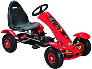 Kids pedal go-kart ride-on car, adjustable seat, rubber tyres, red