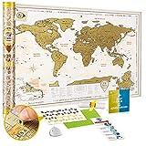 Mappa del Mondo da Grattare Dettagliata - Cartina Mondo da Grattare Grande Oro XXL 88 x 62 cm - Scratch off World Travel Map Poster Vintage Mappa Viaggi con Adesivi - Regalo per Viaggiatori