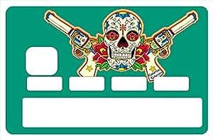 Sticker, autocollant decoratif, pour carte bancaire, calavera emeraude - crée par le DgedeNice - autocollant de haute qualité, création & fabrication Française