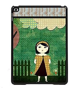 PRINTVISA Girl In The Garden Premium Metallic Insert Back Case Cover for Apple IPad 6 - D5894