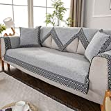AFAHXX Dick Anti-rutsch Sofahusse Sofaüberwurf,Leinen Sofabezug Für Sofa Sofa Überwürfe Sofa Abdeckung Sitzkissen-Grau 90x120cm(35x47inch)