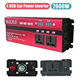 SAILFLO 2000W Peak Power Inverter DC 12V to AC 220V Car Adapter with 5A 4 USB Charging Ports (Cigarette lighter adapter for device under 150W)
