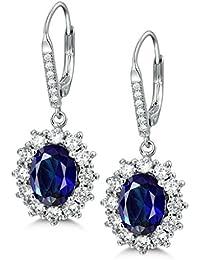 c7c14a0542f4c MASOP Princess Diana Kate Middleton s 925 Sterling Silver Blue Sapphire Drop  Earrings Necklace  Jewellery