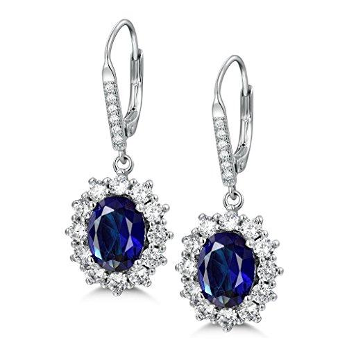 MASOP Boucles d'Oreilles Pendantes Princesse Diana Kate Middleton Argent S925 et Saphir Ovale de Synthèse