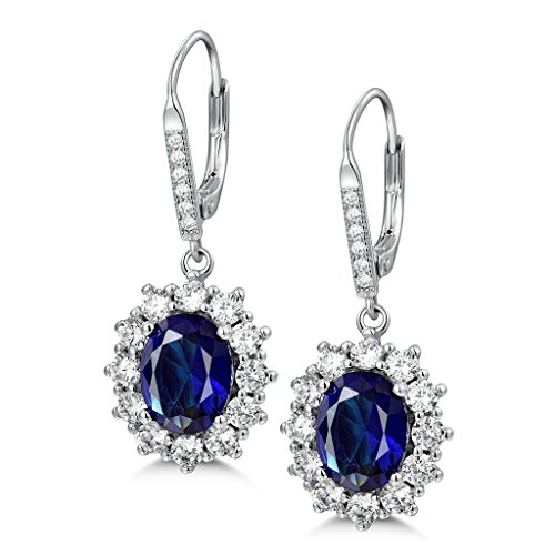 MASOP Saphir Ohrhänger 925 Sterling Silber Klappbügel Ohrringe Oval Blau Zirkonia - Ohrringe Oval Silber
