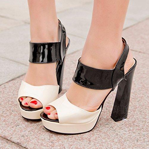 TAOFFEN Femmes Peep Toe Sandales Soiree Mode Bloc Talons Hauts Plateforme Multicolore Slingback Chaussures Noir