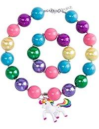 FENICAL Collar de Unicornio Colgante de Bolas de Bubblegum Collar de Gargantilla Colorido de Niñas Chucherías con Pulsera