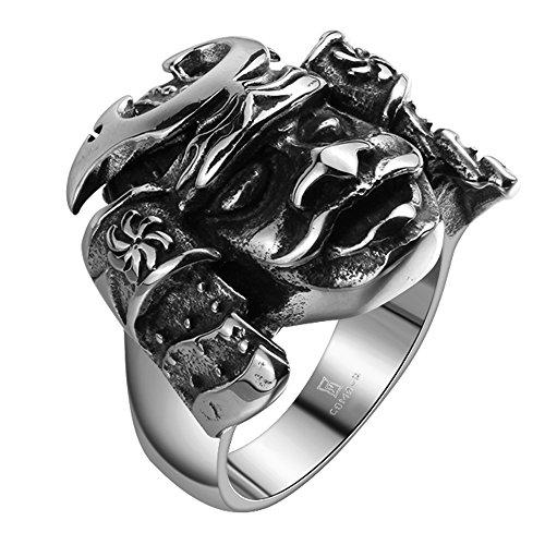 iSchmuck Herren Edelstahl Ring Band Silber Schwarz Geheimnisvollen Alten Krieger Maske Gotik - Größe 65