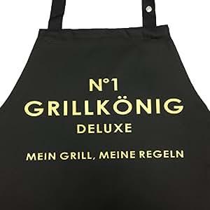 N°1 GRILLKÖNIG deluxe - Mein Grill, Meine Regeln - Grillschürze Premium mit verstellbarem Nackenband und Seitentasche