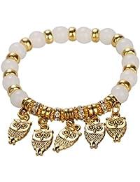 Bold N Elegant Gold Plated Owl Bracelet Charm Bead Bracelet Good Luck Bracelet
